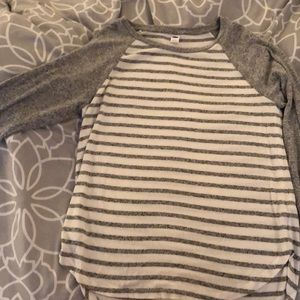 gray striped flowy shirt, super cute and comfy